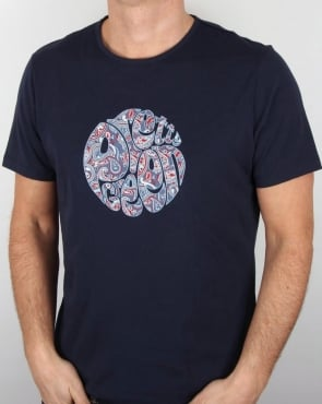 Pretty Green Camley Paisley Applique T Shirt Navy