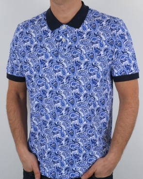 Pretty Green Caversham Paisley Polo Shirt Blue