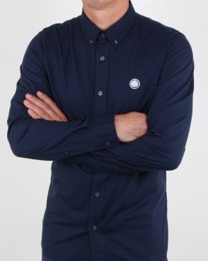 Pretty Green Classic Fit Oxford Shirt Dark Navy