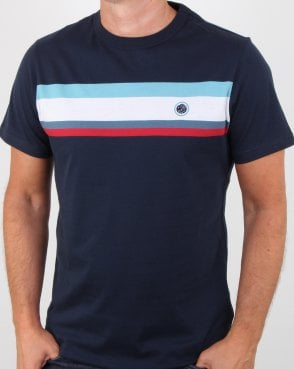 Pretty Green Contrast Panel T-shirt Navy