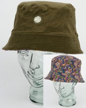 Pretty Green Cord Vintage Paisley Bucket Hat Khaki