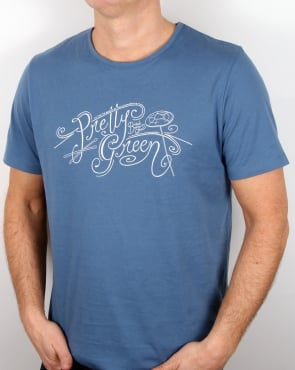 Pretty Green Cymbal T Shirt Mid Blue