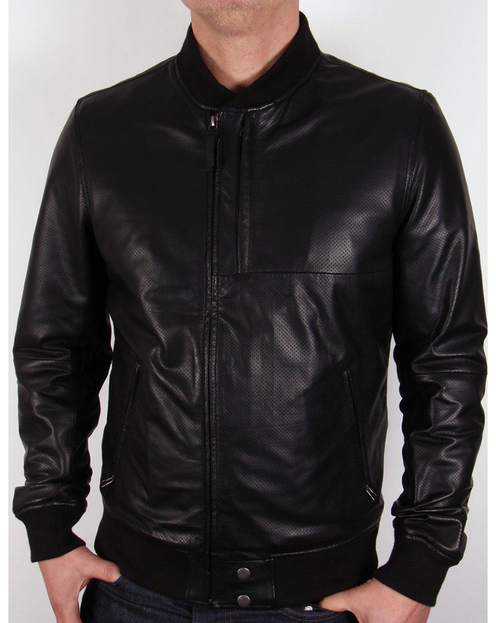 Leather jacket uk mens - Pretty Green Defiance Leather Jacket Black