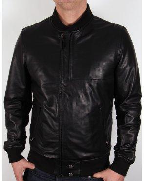 Pretty Green Defiance Leather Jacket Black