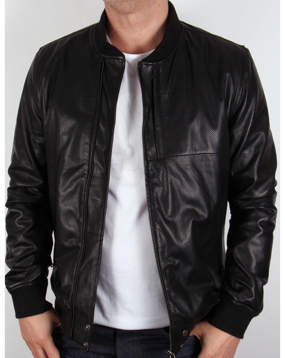 Leather jacket sale - Pretty Green Defiance Leather Jacket Black