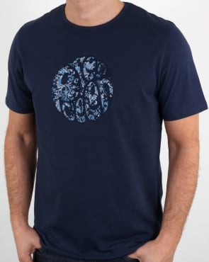 Pretty Green Ditsy Applique Logo T Shirt Navy