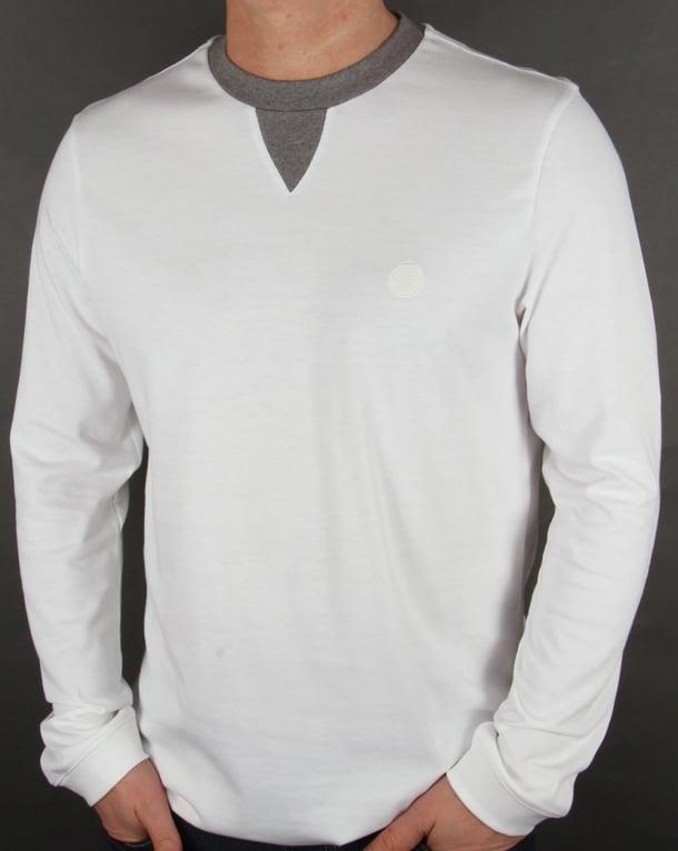 Pretty Green Duxbury Long Sleeve T Shirt White