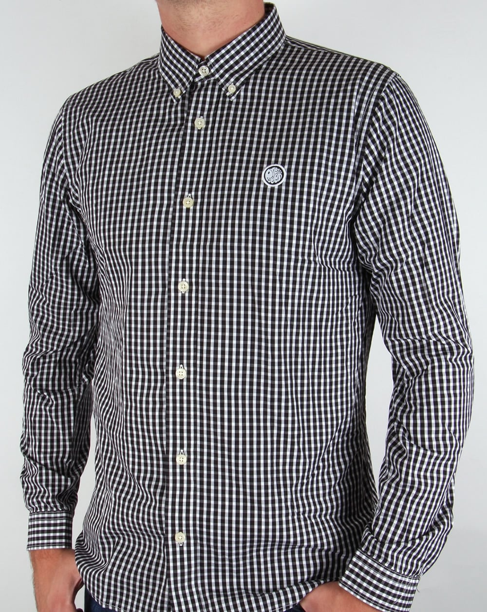 Pretty Green Ebsworth Gingham Black,check,long sleeve,mens,smart