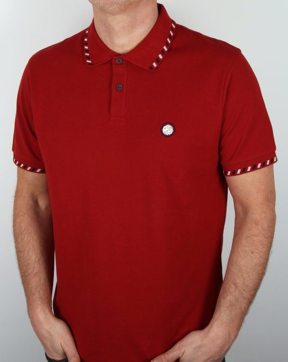 125699010 Pretty Green Elmwood Polo Shirt Dark Red, Men's, Pique, Cotton