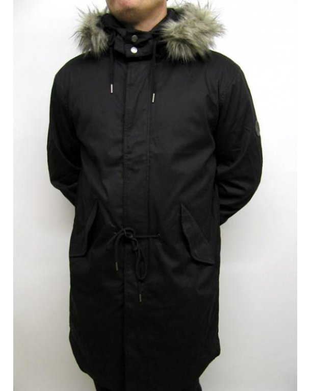 Pretty Green Fixed Line Parka Black