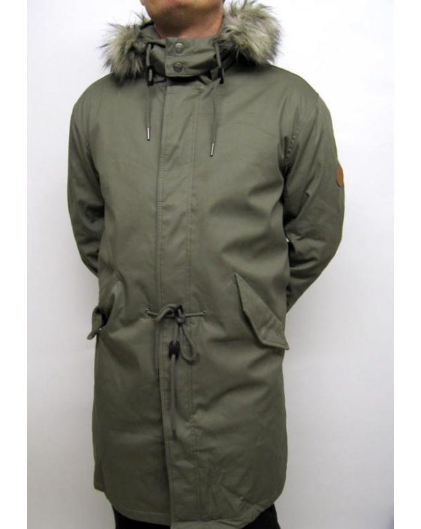 Pretty Green Fixed Line Parka Khaki Green