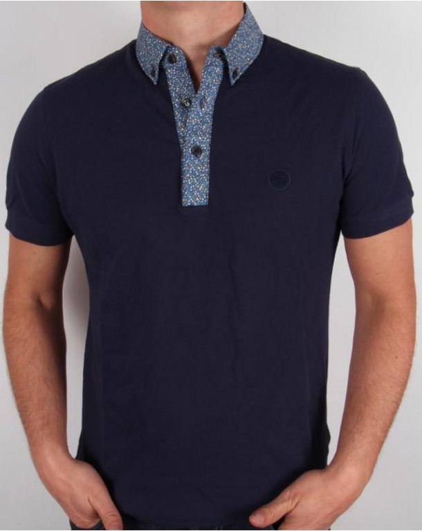 Pretty Green Floral Collar Polo Shirt Navy