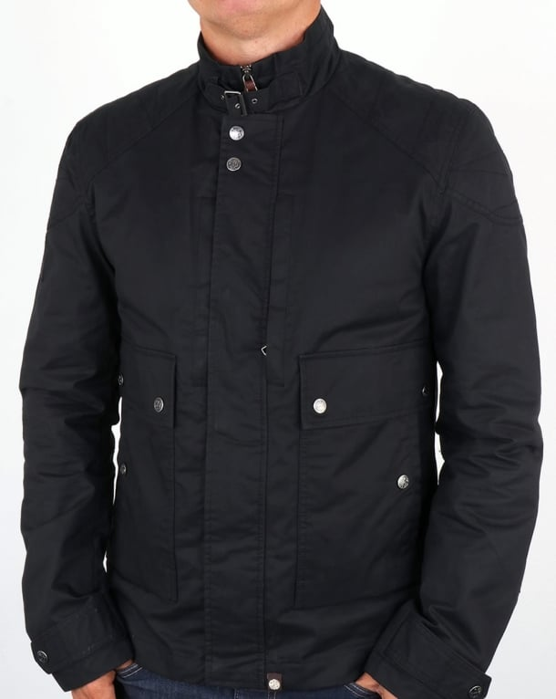 Pretty Green Garrat Waxed Jacket Navy