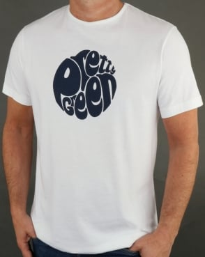 Pretty Green Gillespie Logo T Shirt White/navy