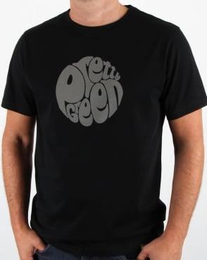 Pretty Green Gillespie Paisley Logo T Shirt Black