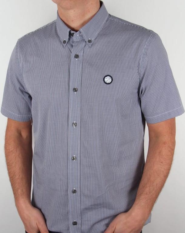 Pretty Green Glendale Short Sleeve Gingham Shirt Navy