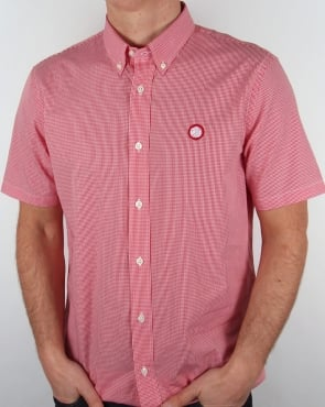 Pretty Green Glendale Short Sleeve Gingham Shirt Red