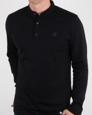 Pretty Green Gracott Grandad Polo Shirt Black