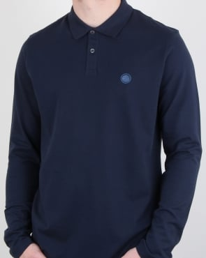 Pretty Green Hartford Long Sleeve Polo Shirt Navy