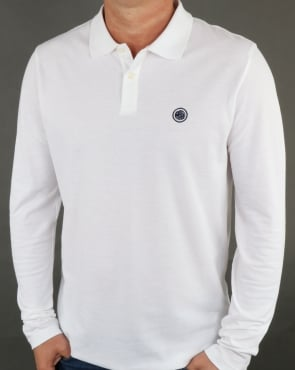 Pretty Green Hartford Long Sleeve Polo Shirt White
