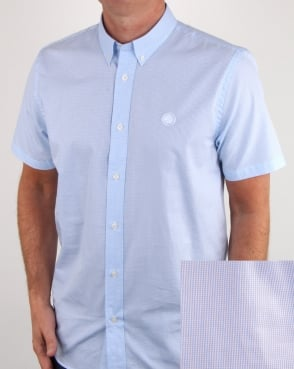 Pretty Green Hendry Gingham Short Sleeve Shirt Blue