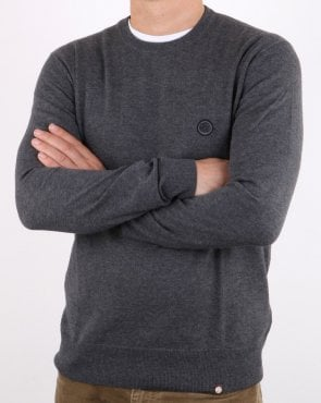 Pretty Green Hinchcliffe Crew Neck Jumper Dark Grey