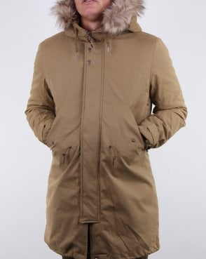Pretty Green Hooded Parka Khaki
