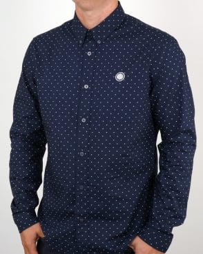 Pretty Green Horlock Long Sleeve Polka Dot Shirt Navy