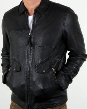 Pretty Green Jennetts Leather Jacket Black