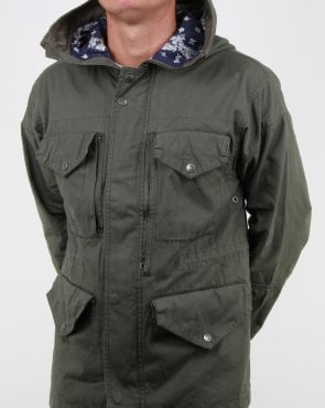 Pretty Green Kildare Mid Length Snorkel Jacket Khaki