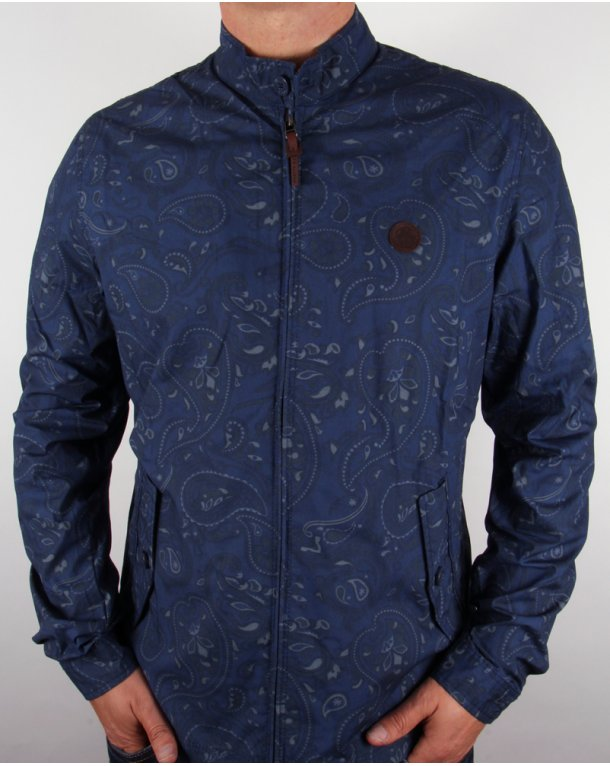 Pretty Green Kingsway Paisley Harrington Jacket Navy