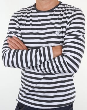 Pretty Green Kinsey Long Sleeve Stripe T Shirt Dark Grey