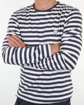 Pretty Green Kinsey Long Sleeve Stripe T Shirt Dark Grey