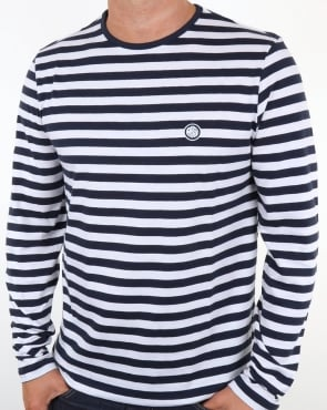 Pretty Green Kinsey Long Sleeve Stripe T Shirt Navy
