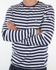 Pretty Green Kinsey Long Sleeve Stripe T Shirt Navy