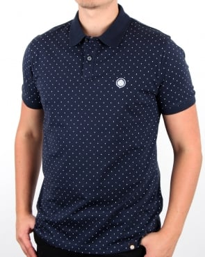 Pretty Green Kompany Polka Dot Polo Navy