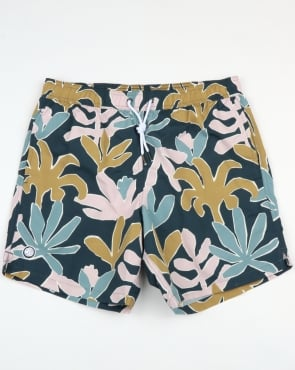 Pretty Green Leaf Print Swim Shorts Navy