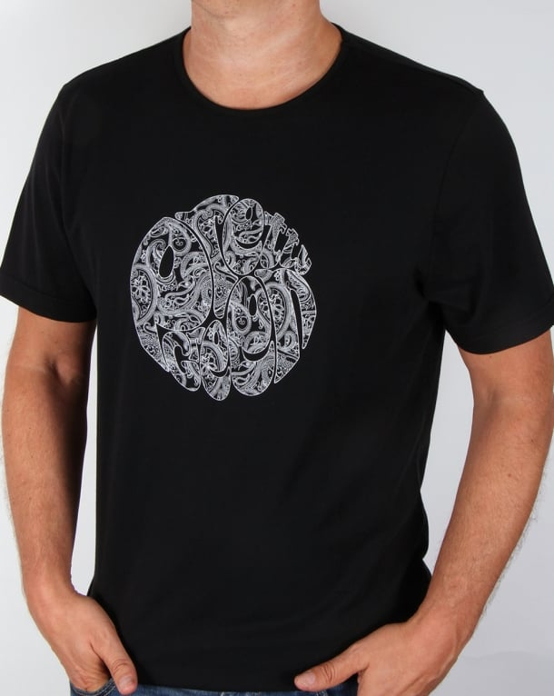 Pretty Green Linear Logo T-shirt Black