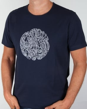 Pretty Green Linear Logo T-shirt Navy