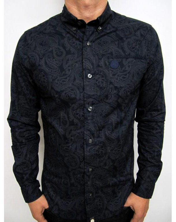 Pretty Green Linear Paisley Shirt Navy