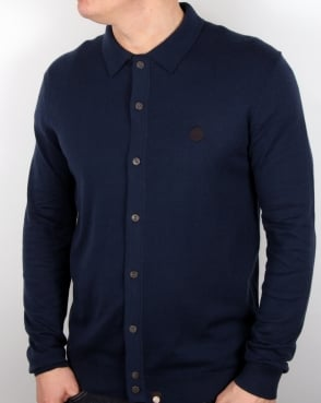 Pretty Green Mandeville Knitted Shirt Navy