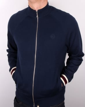 Pretty Green Mandeville Knitted Track Top Navy