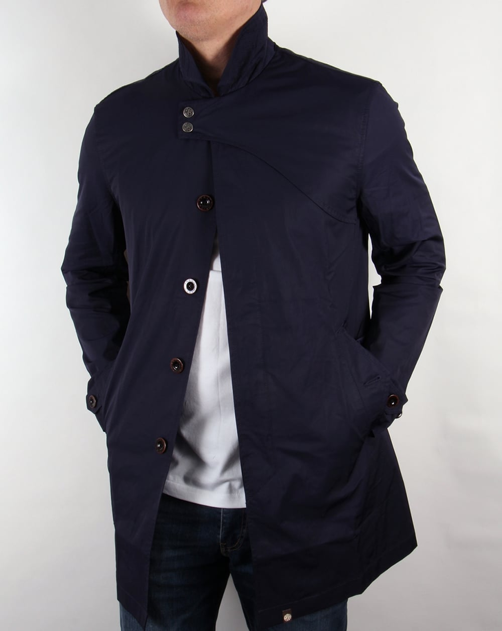 Pretty Green Mayfair Trench Coat Navy Mac Jacket Parka Mens