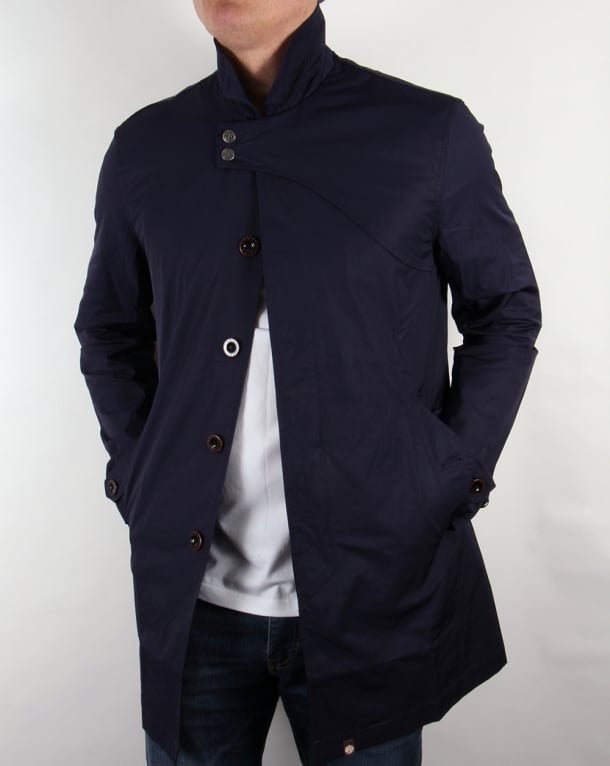 Pretty Green Mayfair Trench Coat Navy