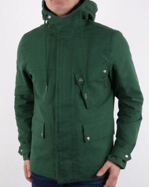 Pretty Green Mens Contrast Colour Hooded Jacket Green