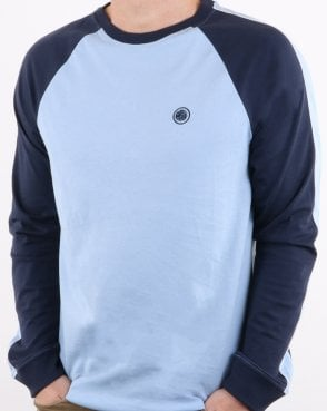Pretty Green Mens Contrast Colour Raglan T-shirt Sky