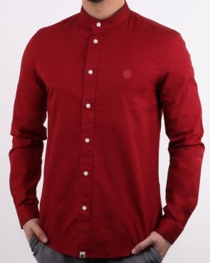 Pretty Green Mens Slim Fit Collarless Shirt Red
