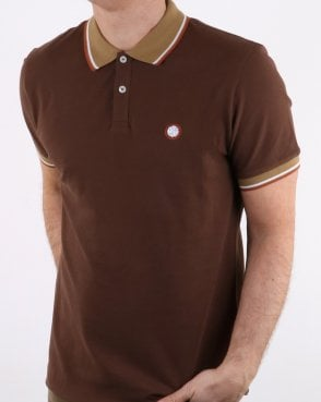 Pretty Green Mens Tipped Pique Polo Shirt Brown