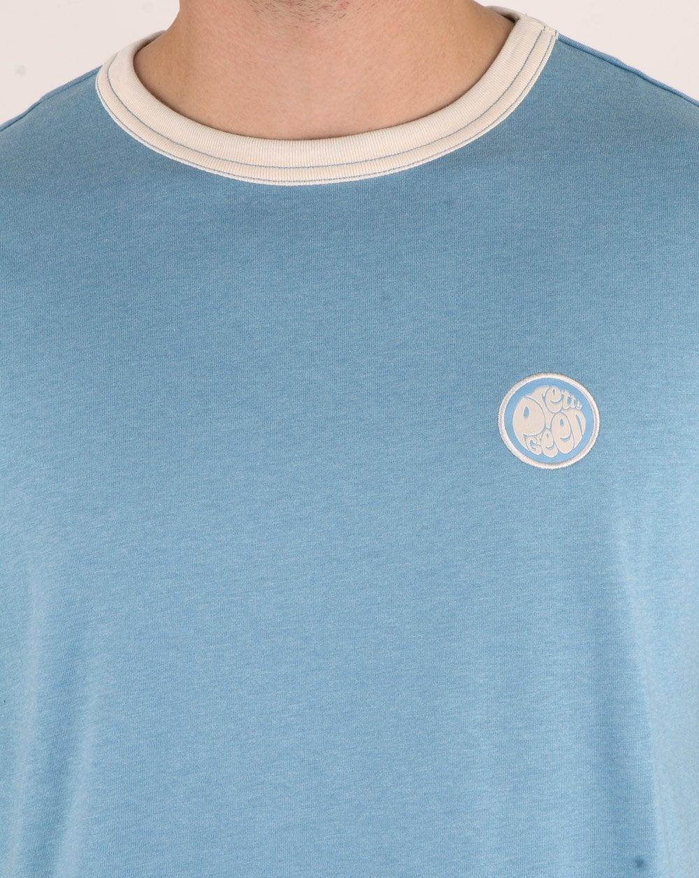 Nouveau Pretty Green Milford Ringer badge XXL T-shirt blanc cassé marron S9GMU15000143