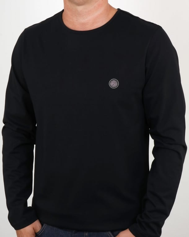 Pretty Green Mitchell Long Sleeve T Shirt Black